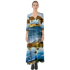 Dolomites Mountains Italy Alpin Button Up Boho Maxi Dress