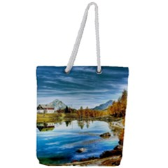 Dolomites Mountains Italy Alpin Full Print Rope Handle Tote (large)