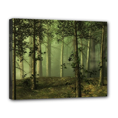 Forest Tree Landscape Canvas 14  X 11