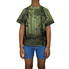Forest Tree Landscape Kids  Short Sleeve Swimwear