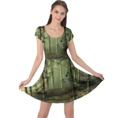 Forest Tree Landscape Cap Sleeve Dress