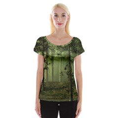 Forest Tree Landscape Cap Sleeve Tops