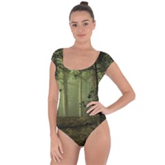 Forest Tree Landscape Short Sleeve Leotard