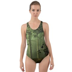 Forest Tree Landscape Cut Out Back One Piece Swimsuit