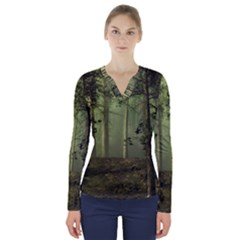 Forest Tree Landscape V Neck Long Sleeve Top