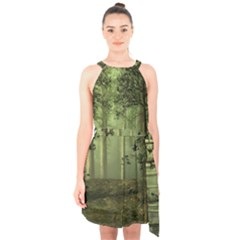 Forest Tree Landscape Halter Collar Waist Tie Chiffon Dress