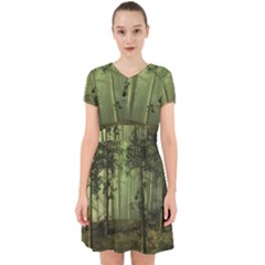 Forest Tree Landscape Adorable In Chiffon Dress