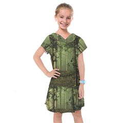 Forest Tree Landscape Kids  Drop Waist Dress