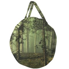 Forest Tree Landscape Giant Round Zipper Tote