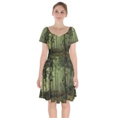 Forest Tree Landscape Short Sleeve Bardot Dress