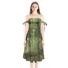 Forest Tree Landscape Shoulder Tie Bardot Midi Dress