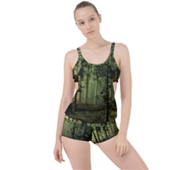 Forest Tree Landscape Boyleg Tankini Set