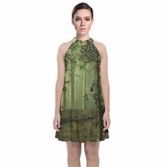 Forest Tree Landscape Velvet Halter Neckline Dress