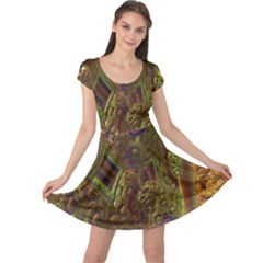 Fractal Virtual Abstract Cap Sleeve Dress