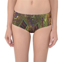 Fractal Virtual Abstract Mid Waist Bikini Bottoms