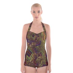 Fractal Virtual Abstract Boyleg Halter Swimsuit