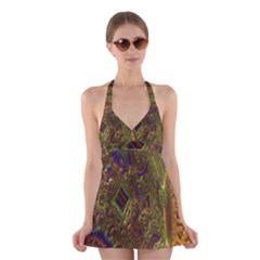 Fractal Virtual Abstract Halter Dress Swimsuit