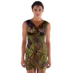 Fractal Virtual Abstract Wrap Front Bodycon Dress