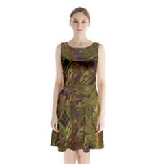 Fractal Virtual Abstract Sleeveless Waist Tie Chiffon Dress