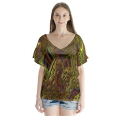 Fractal Virtual Abstract V Neck Flutter Sleeve Top