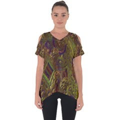 Fractal Virtual Abstract Cut Out Side Drop Tee