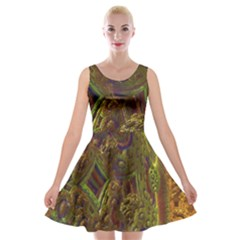 Fractal Virtual Abstract Velvet Skater Dress