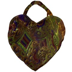 Fractal Virtual Abstract Giant Heart Shaped Tote by Simbadda