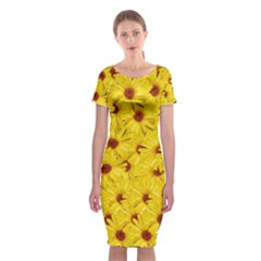 Yellow Flowers Classic Short Sleeve Midi Dress