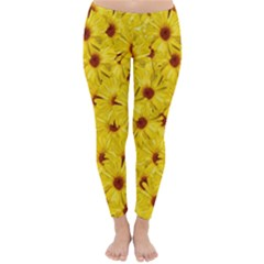 Yellow Flowers Classic Winter Leggings