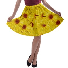 Yellow Flowers A Line Skater Skirt
