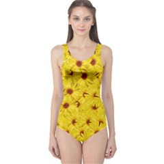 Yellow Flowers One Piece Swimsuit
