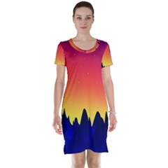 Night Landscape Short Sleeve Nightdress