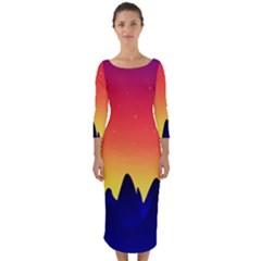 Night Landscape Quarter Sleeve Midi Bodycon Dress