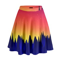 Night Landscape High Waist Skirt