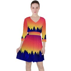 Night Landscape Ruffle Dress