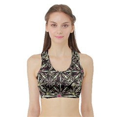 Dark Tropical Pattern Sports Bra With Border