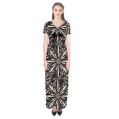 Dark Tropical Pattern Short Sleeve Maxi Dress by dflcprints