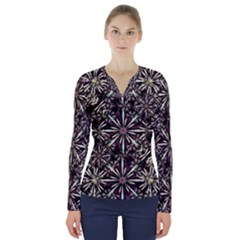 Dark Tropical Pattern V Neck Long Sleeve Top