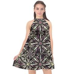 Dark Tropical Pattern Halter Neckline Chiffon Dress