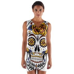 Sugar Skull Wrap Front Bodycon Dress