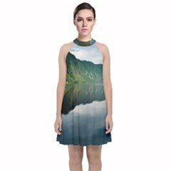 Evening Landscape Velvet Halter Neckline Dress  by goodart