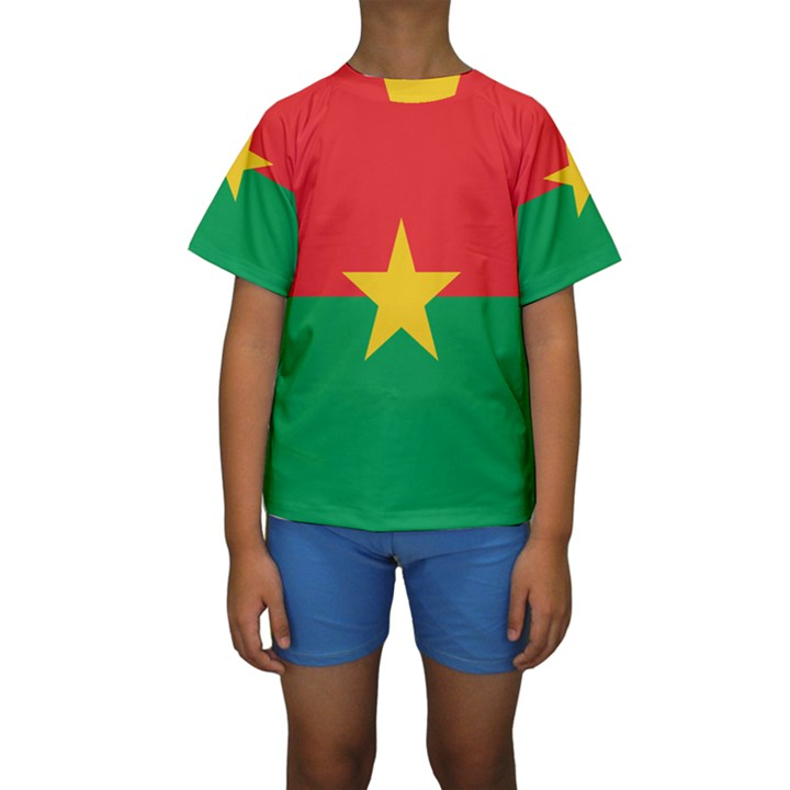 Flag of Burkina Faso Kids  Short Sleeve Swimwear