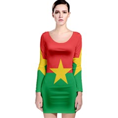 Flag Of Burkina Faso Long Sleeve Bodycon Dress