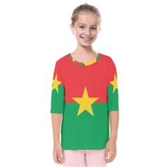 Flag Of Burkina Faso Kids  Quarter Sleeve Raglan Tee