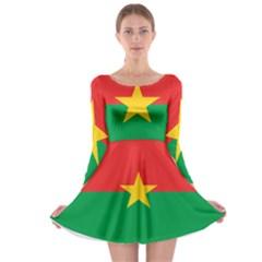 Flag Of Burkina Faso Long Sleeve Skater Dress