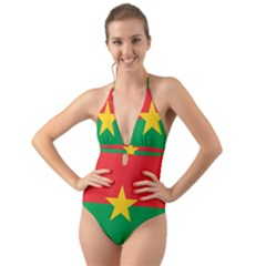 Flag Of Burkina Faso Halter Cut Out One Piece Swimsuit
