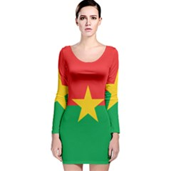 Flag Of Burkina Faso Long Sleeve Velvet Bodycon Dress