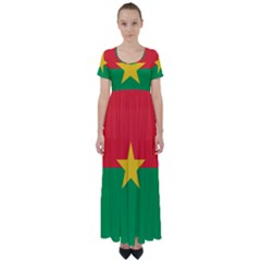 Flag Of Burkina Faso High Waist Short Sleeve Maxi Dress