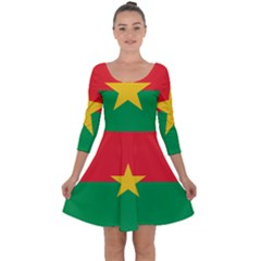Flag Of Burkina Faso Quarter Sleeve Skater Dress