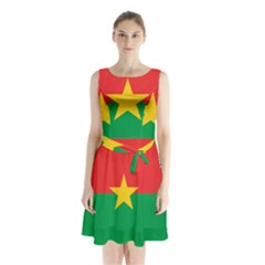 Flag Of Burkina Faso Sleeveless Waist Tie Chiffon Dress